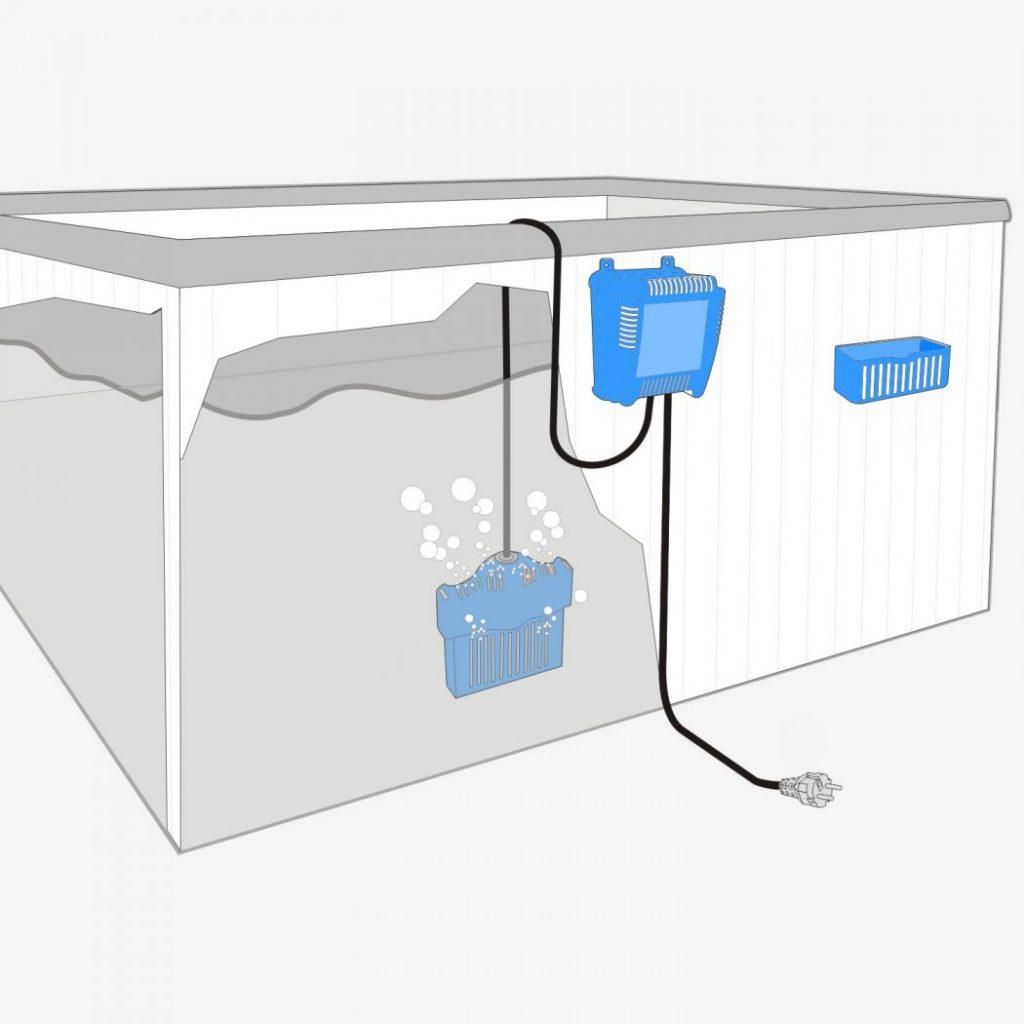 Salt water chlorinator in the hot tub